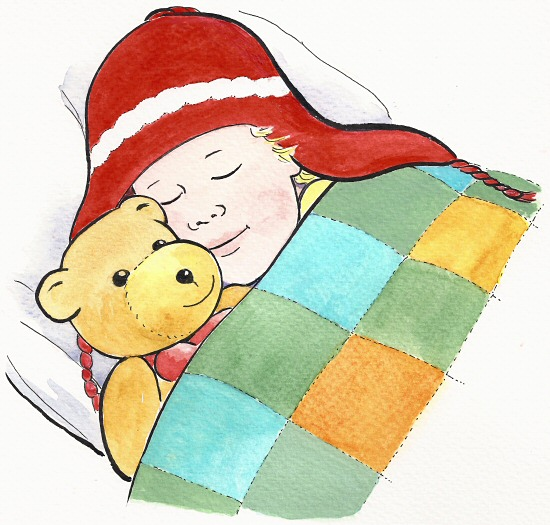 Alfie tucked up in bed illustration